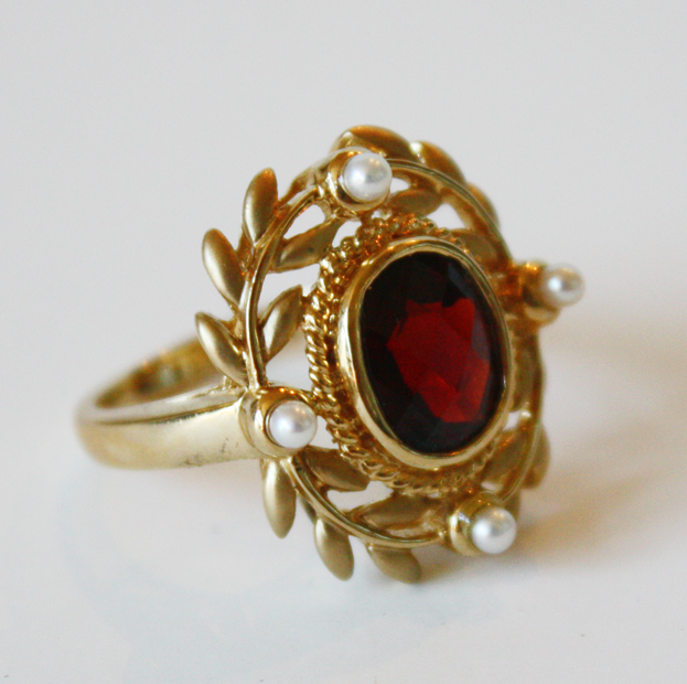 Estate Laurel Wreath Garnet & Pearls Neoclassical Ring