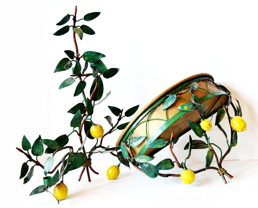 Rare Italian Tole 2 Piece Lemon Sconce & Planter-