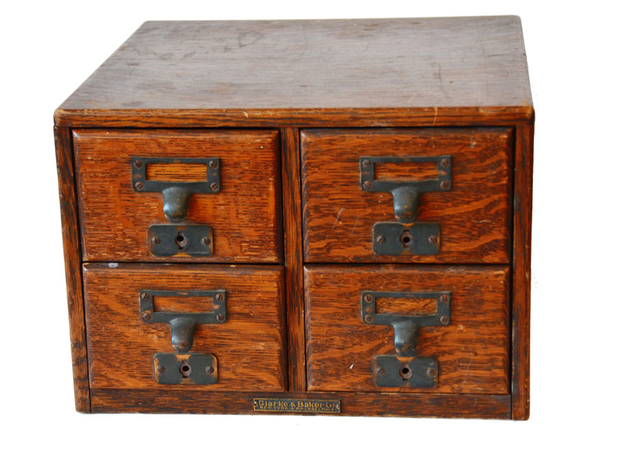Antique Set of Four Oak Drawers Cabinet-