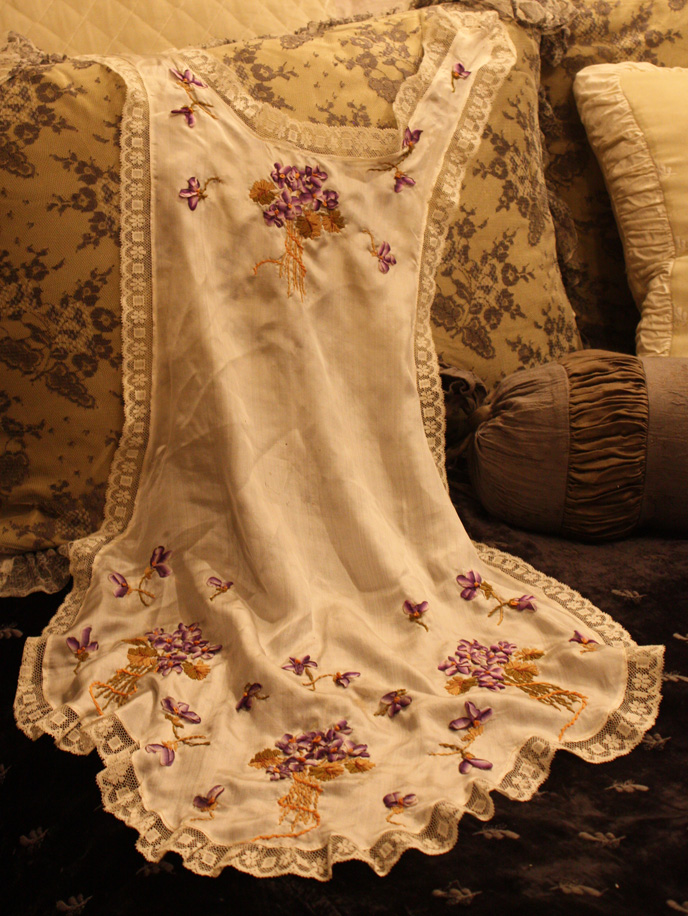 19th C French Silk Boudoir Apron Ribbon Roses Rare-