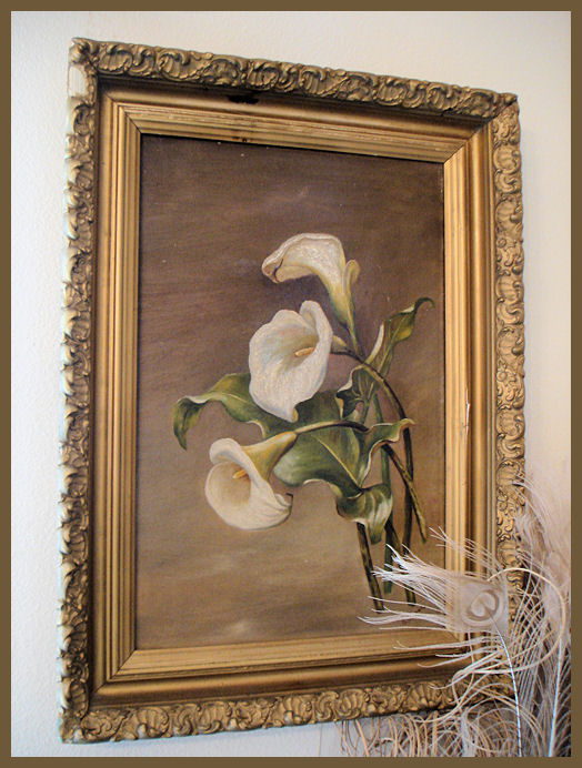 Antique Original Framed Oil Painting Cala Lilies Beautiful