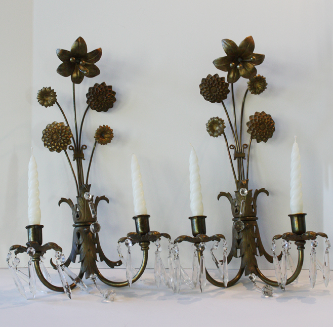 Pair French Bronze Antique C. 1900s Lily Wall Sconces-