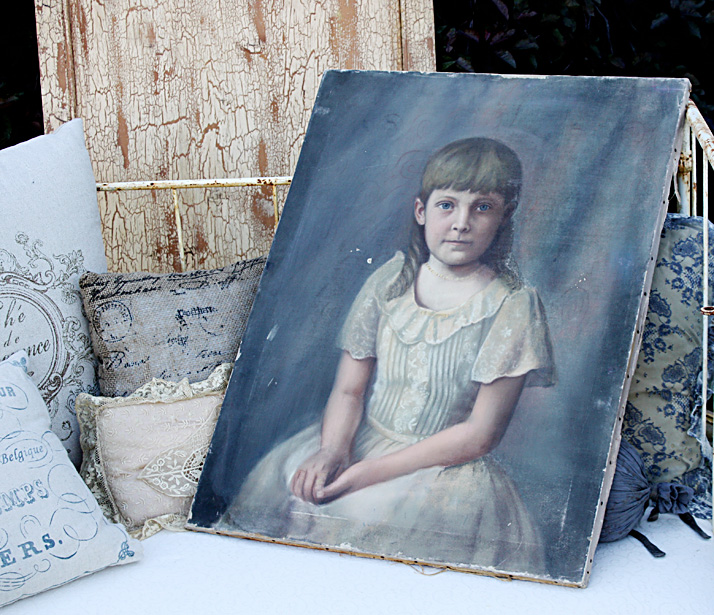 Early 1900s Little Girl Painting on Canvas Beautiful Details