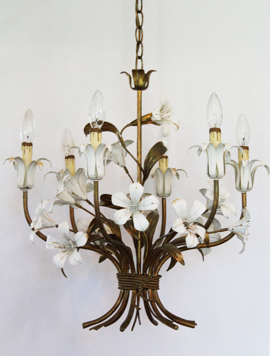 Italian Tole White Lily Chandelier Antique Made in Italy.