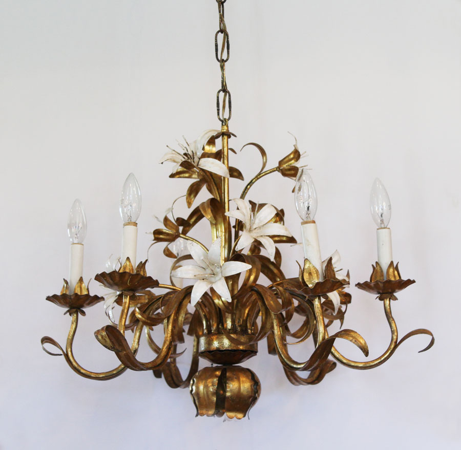 Antique Italian Tole Lily Flower Gilt Gold Chandelier