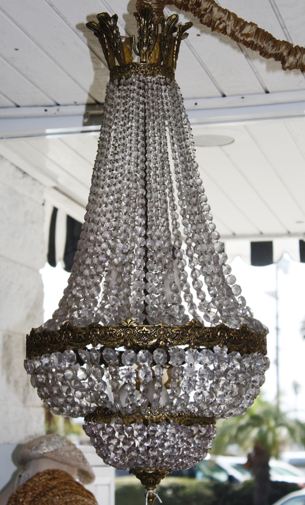 French Empire Antique Long Beaded Dome Crystal Chandelier-