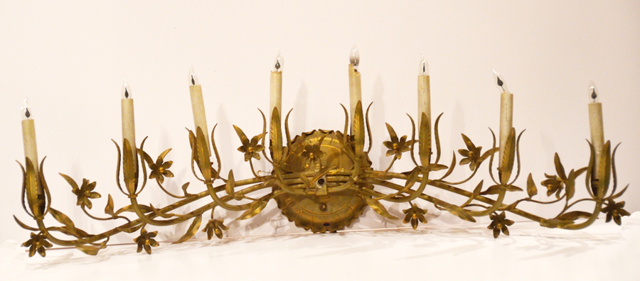 Large Italian Tole Gilt & Cream Floral Electric Wall Candelabra