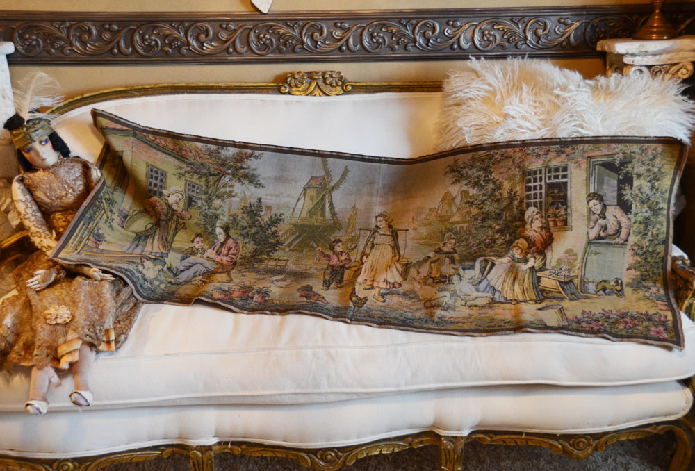 Antique Made in France Long Wall Tapestry-