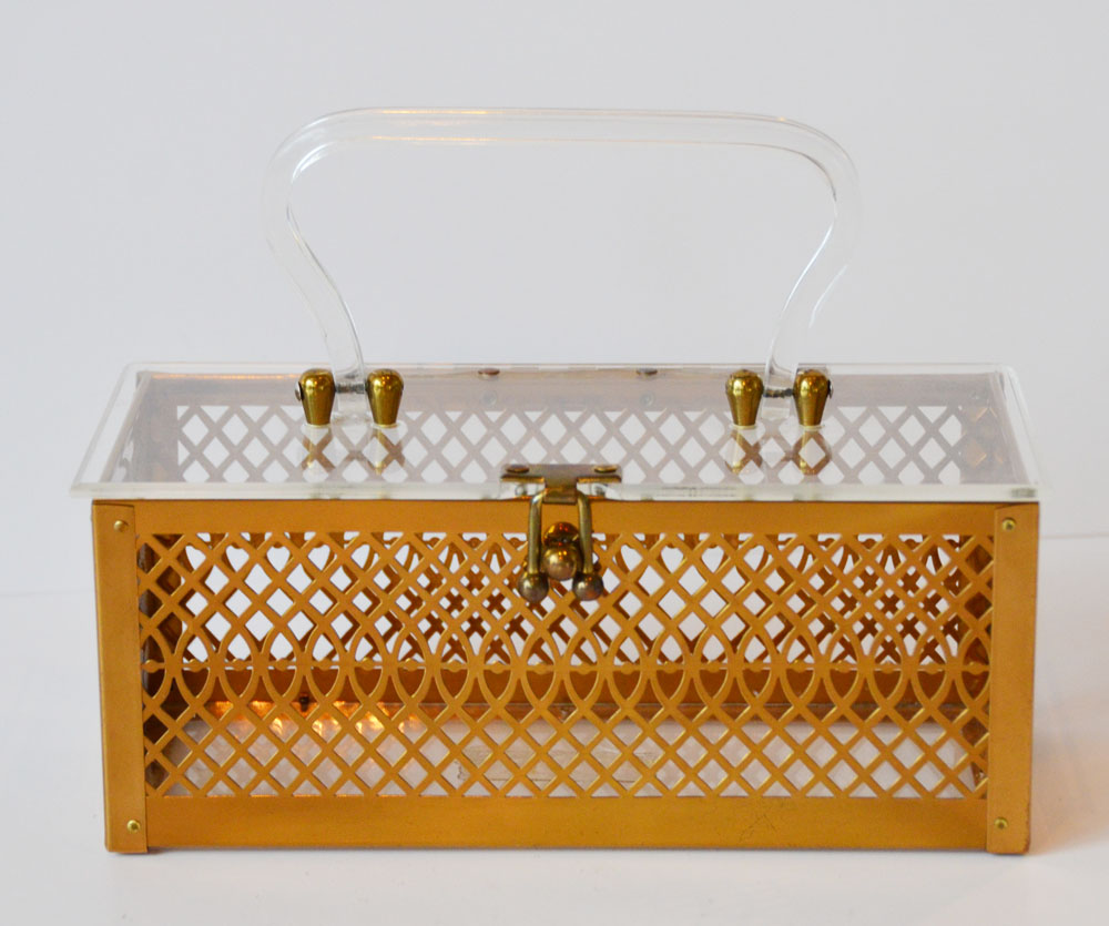 Antique Lucite & Metal Deco Purse