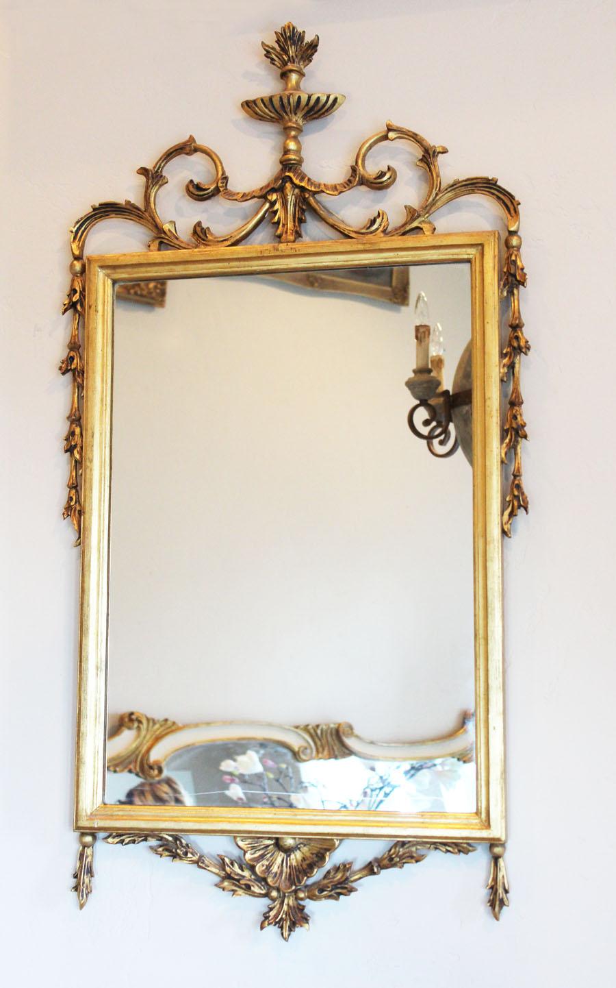 Antique Italian Florentine Palladio Carved Wood Mirror
