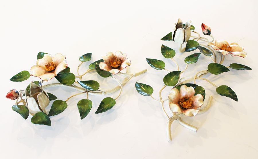 Rare Pair Italian Tole Wild Rose Candlesticks