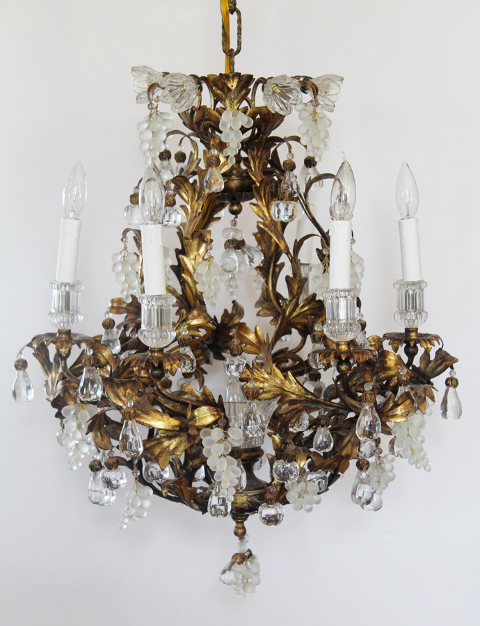 Rare Art Glass Incredible Antique Murano Gold Gilt Fruit Drops Chandelier