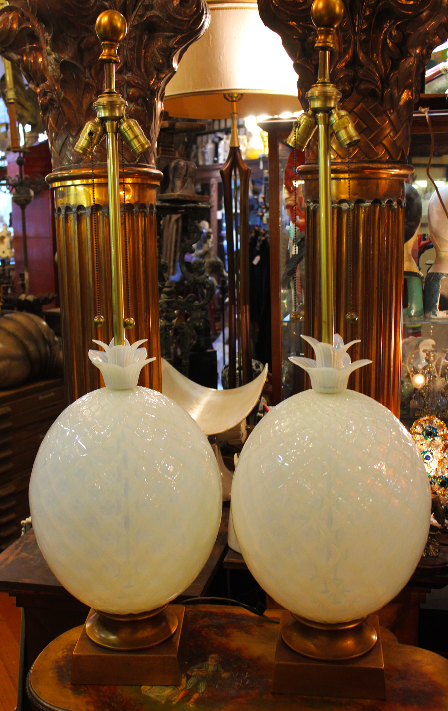 Antique Seguso Murano Grand Pair Blown Art Glass Lamps