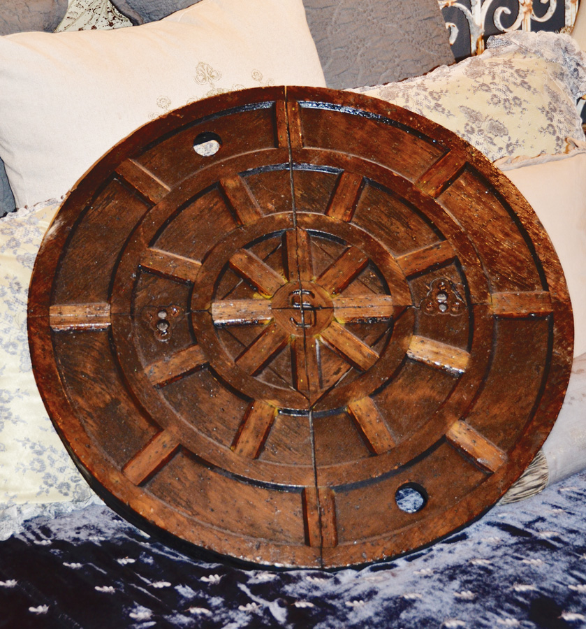 Antique Industrial Carved Wood Mold Manhole Steampunk Decor Rare