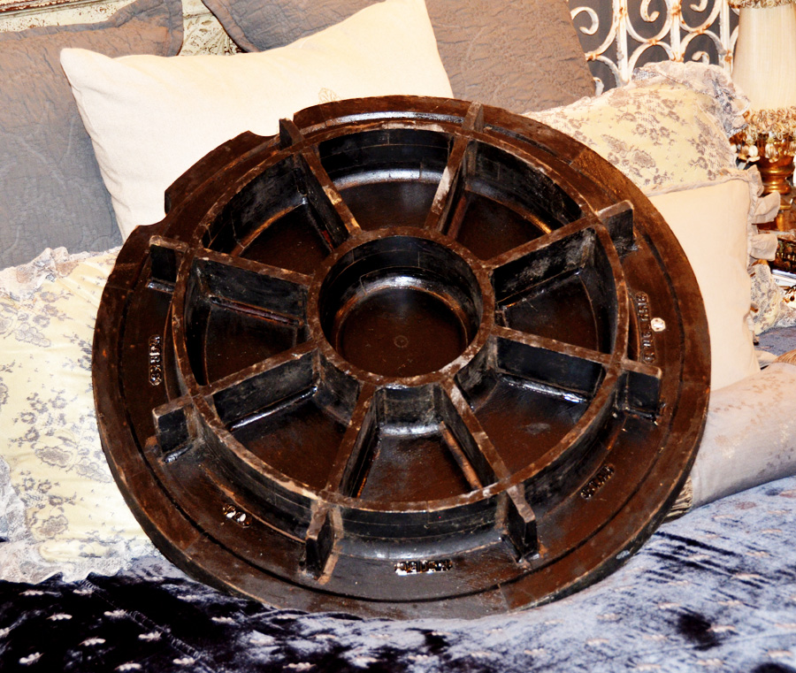 Antique Incredible Large Industrial Carved Wood Gear Mold Steam Punk-