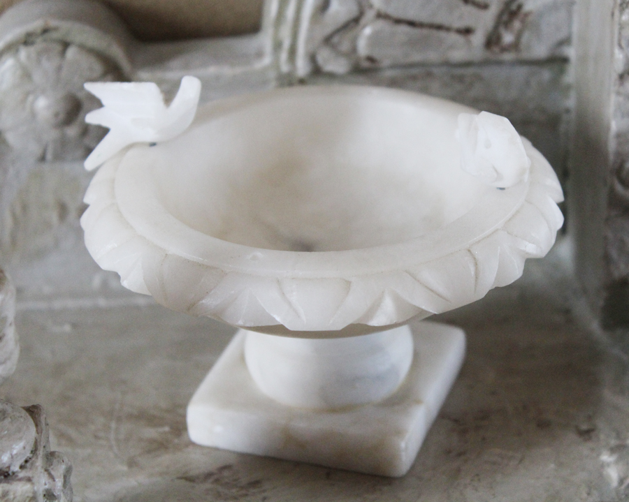 Antique Alabaster Marble BirdBath Italian Sculpture-