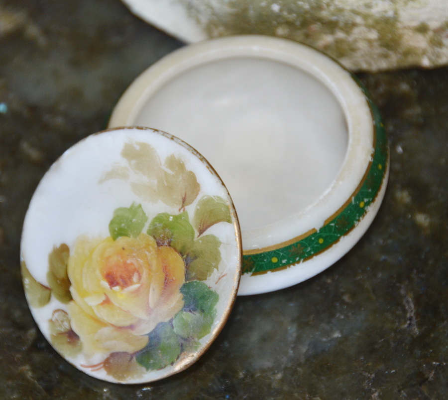 Antique Handpainted Marble Tricket Box-