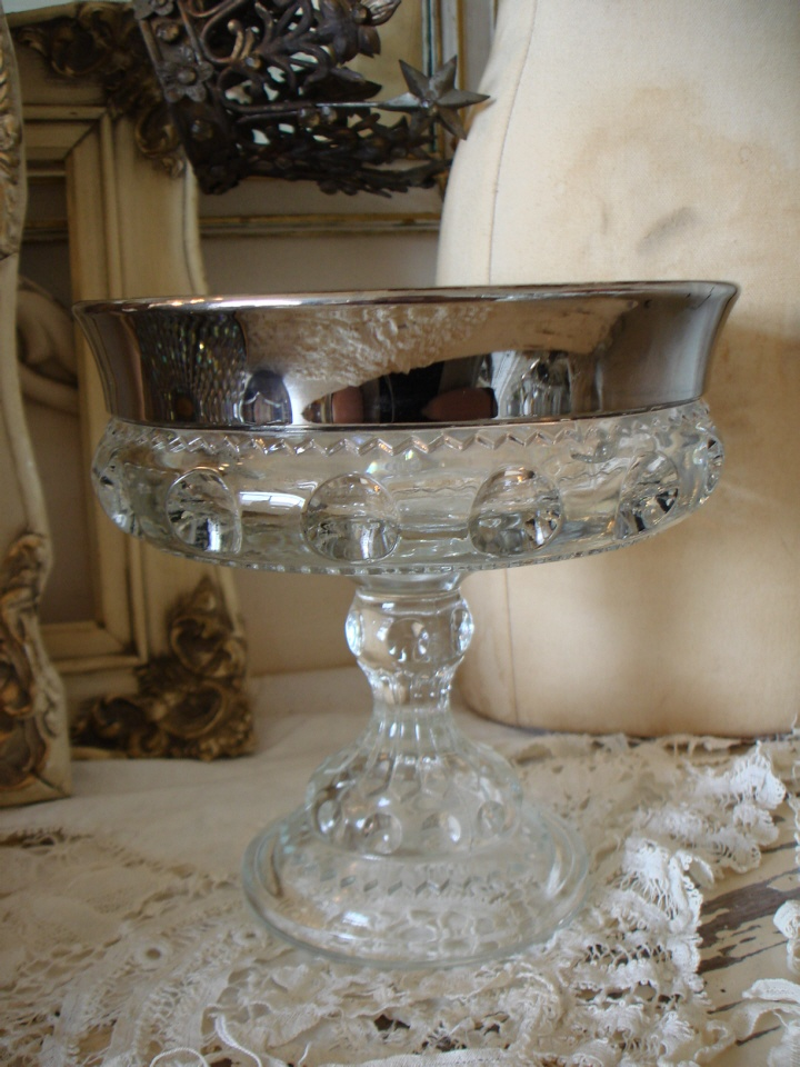 Gorgeous Antique Mercury Glass Crystal Cut Compote