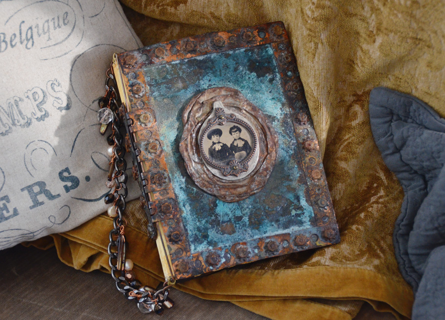 One of a Kind Artist Made Vintage Metal Book