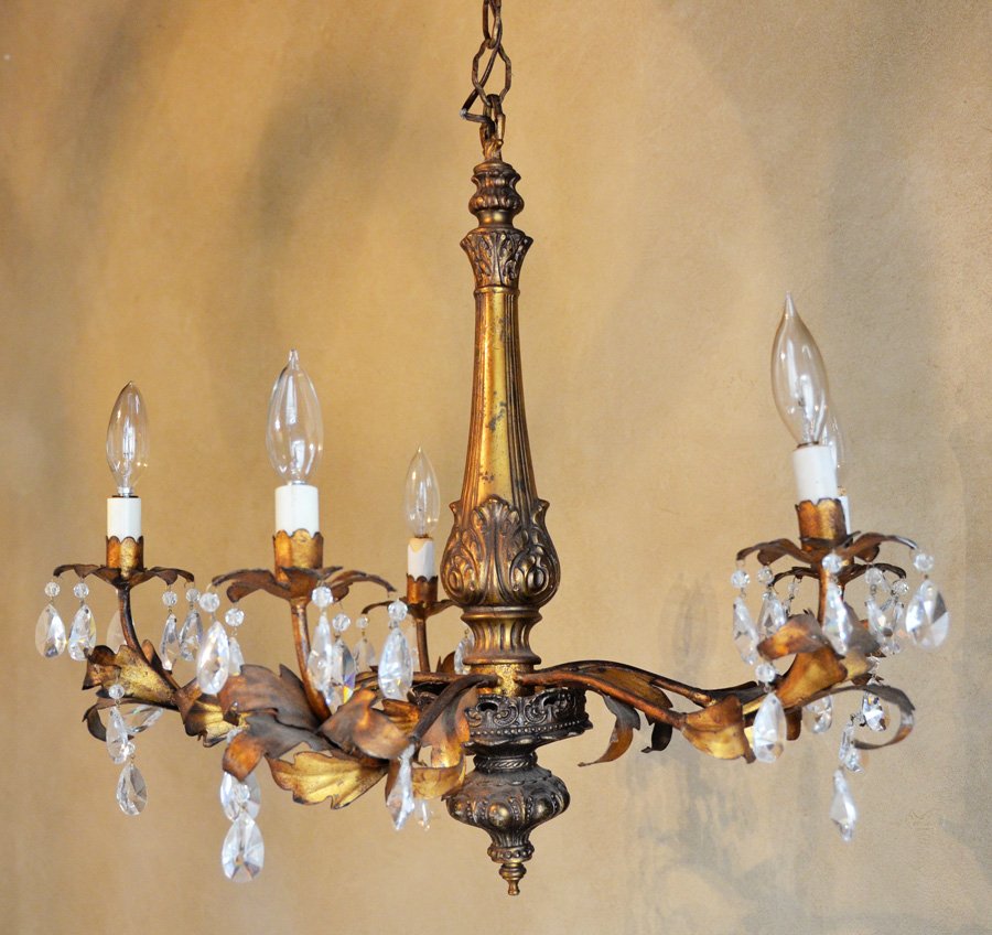 Italian Tole Gilt Metal & Prisms Chandelier Antique-