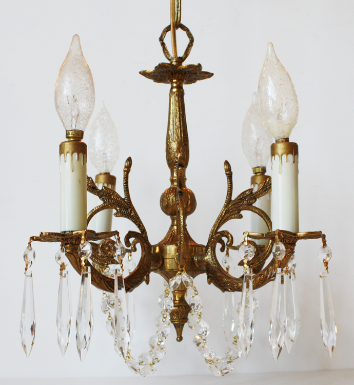 Small Crystal Beaded Chandelier Great Size For Smaller Spaces-