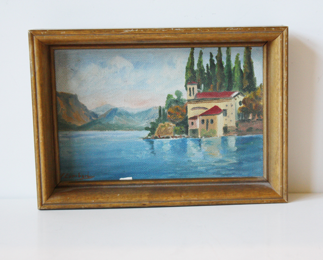 Miniature Vintage Lakehouse Painting w/Cottage