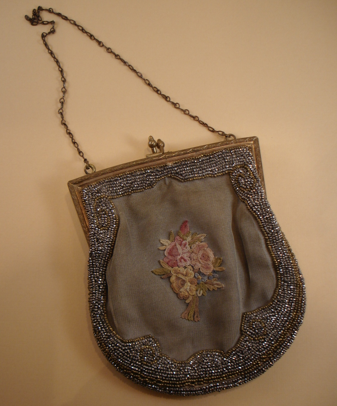 French Antique Beaded & Petit Point Purse-