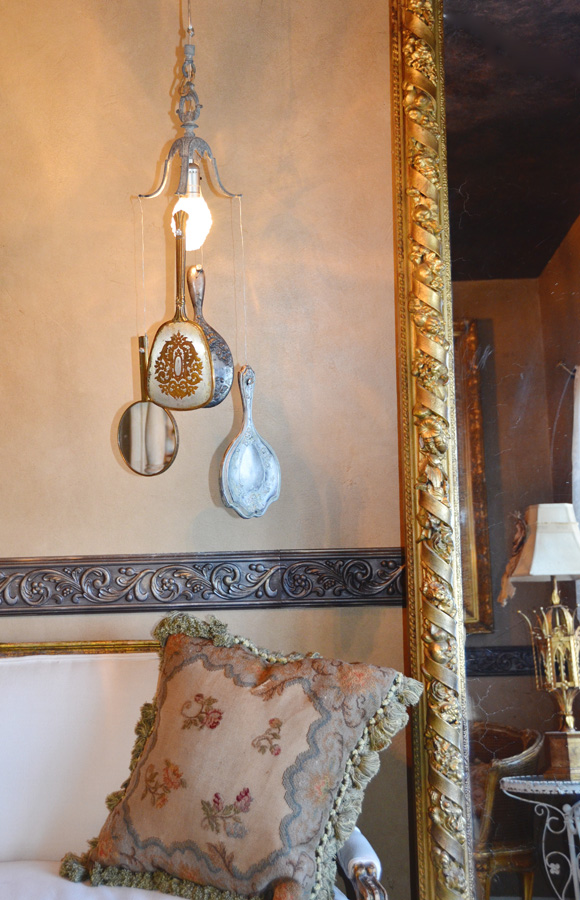 Antique One of a Kind Hand Mirror Chandelier-