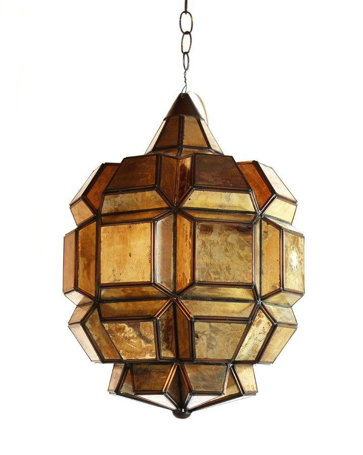Antique Mirrored Lantern Chandelier Incredible Patina-