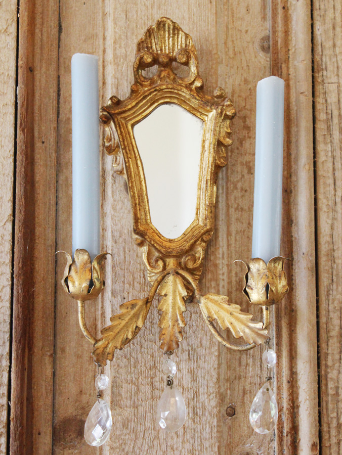 Italian Tole Antique Gilt Mirror Wall Candle Sconce-
