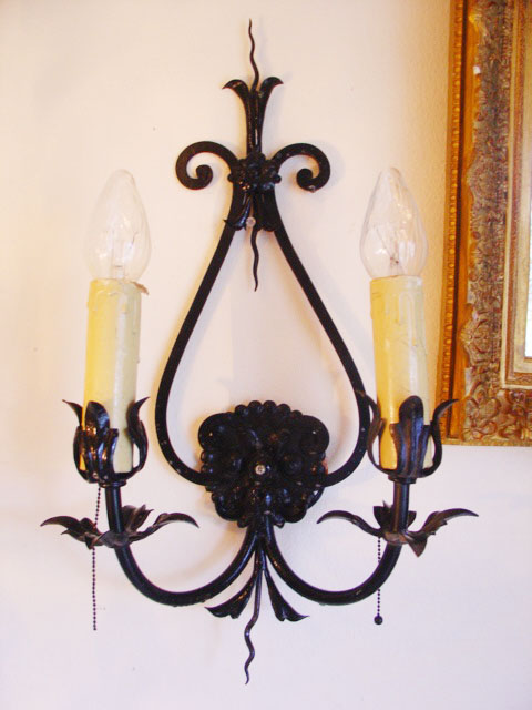 Hand Forged Wrought Iron Electric Wall Sconce Antique