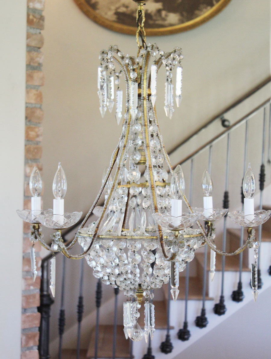 Antique Large Italian Beaded Chandelier Gorgeous Modern Design