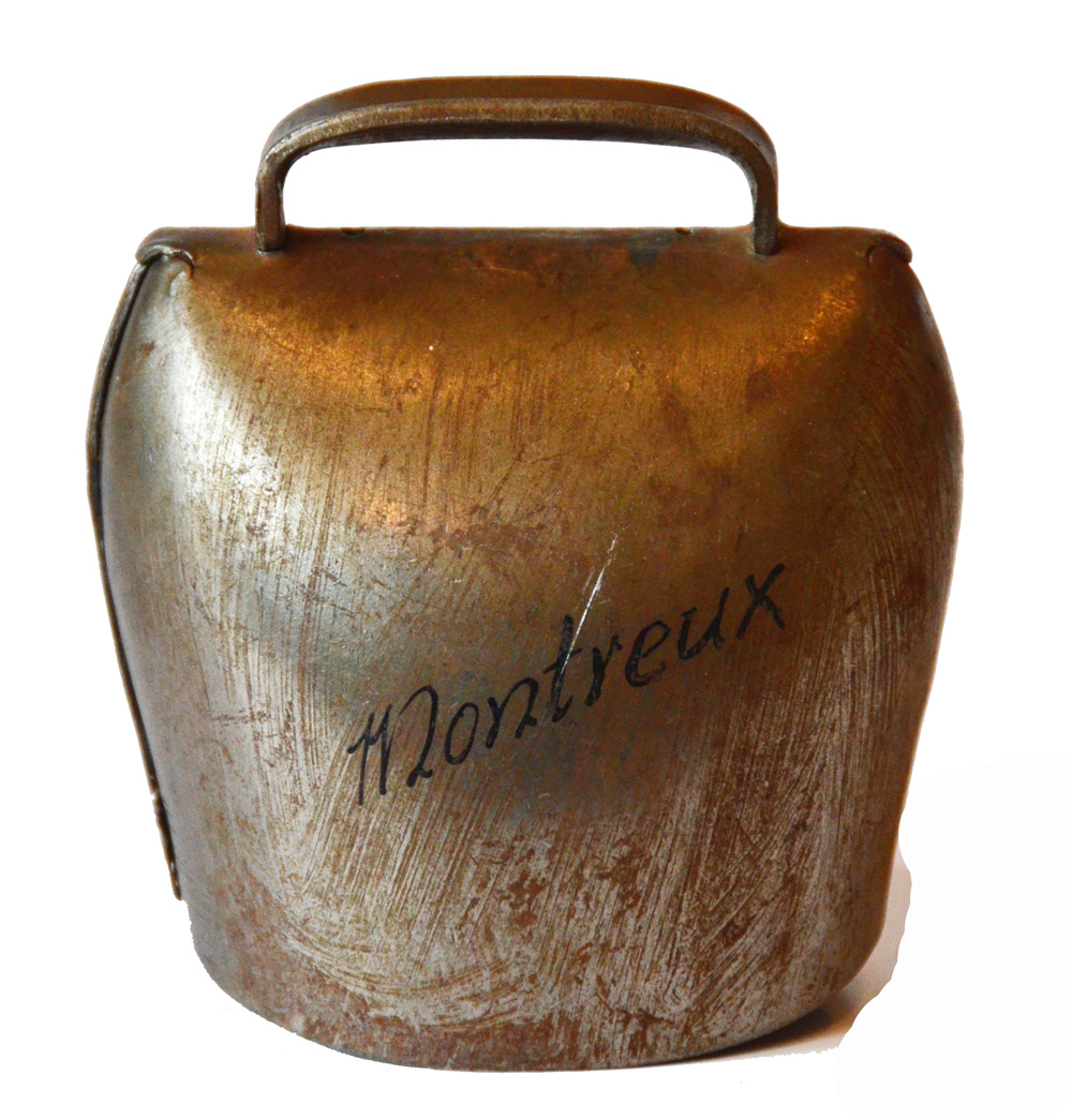 Antique Swiss Large Cow Bell Etched Montreux