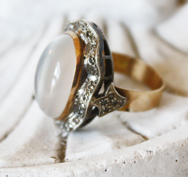 Antique Moonstone w/Diamonds Gorgeous Estate Ring-