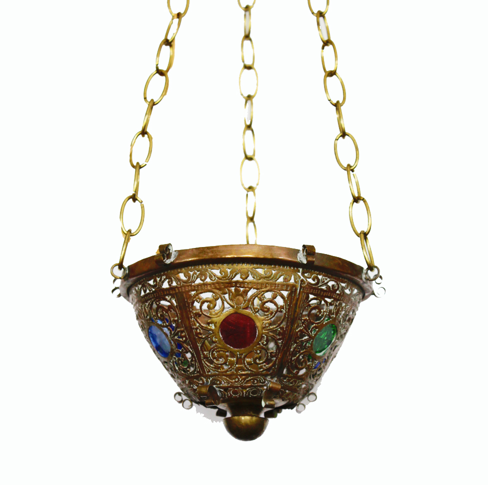 Antique Jeweled Hanging Pendant Bowl Light
