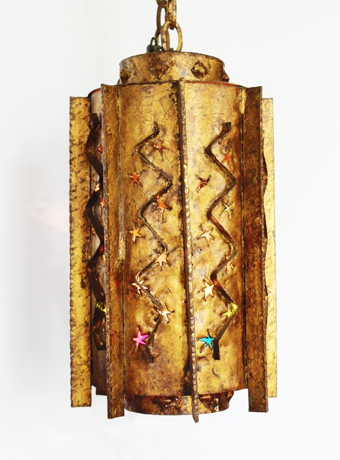 Antique Gilt Metal Hanging Lantern Light-