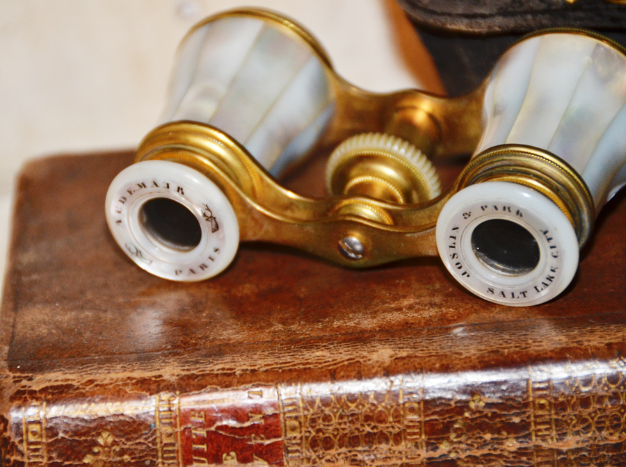 Made in Paris Antique Mother of Pearl Opera Glasses Signed
