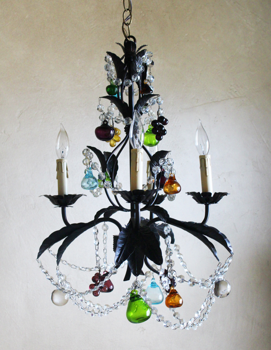 Italian Tole Multi Color Blown Glass Chandelier