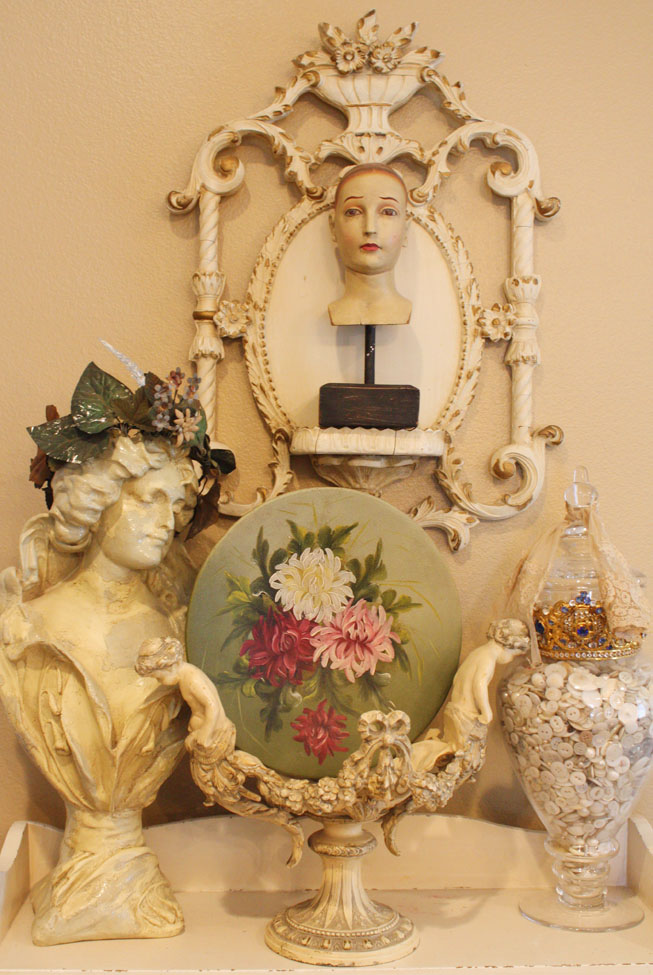 Victorian Antique Floral Painted on Metal Mums-