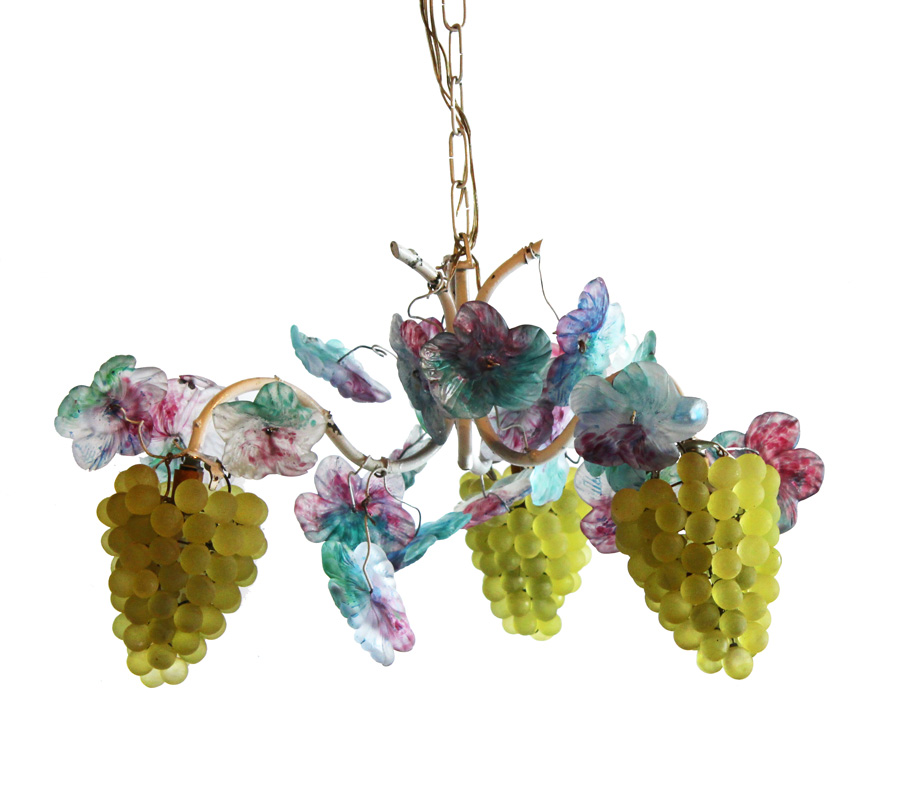 Antique Murano Tole Flowers & Grapes Chandelier-
