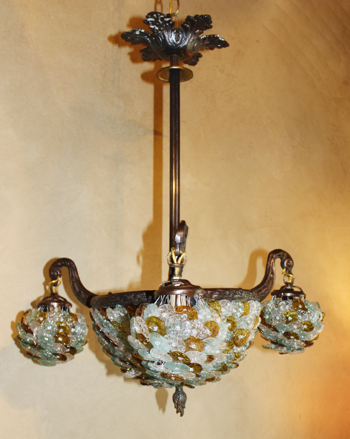 Antique Czech Three Arm & Beaded Dome Chandelier-
