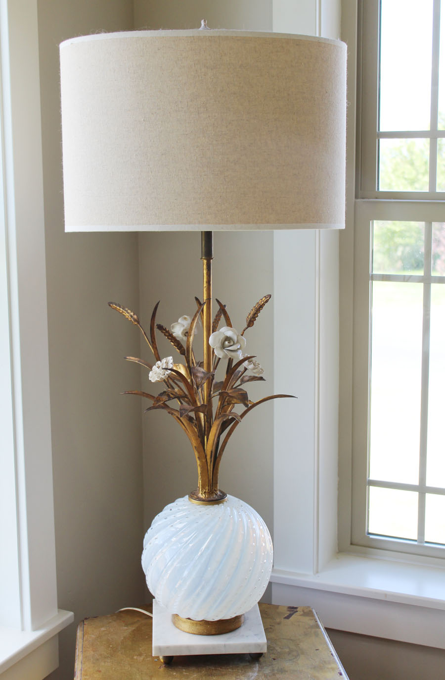 Italian Murano Barovier & Toso Lamp with Flowers