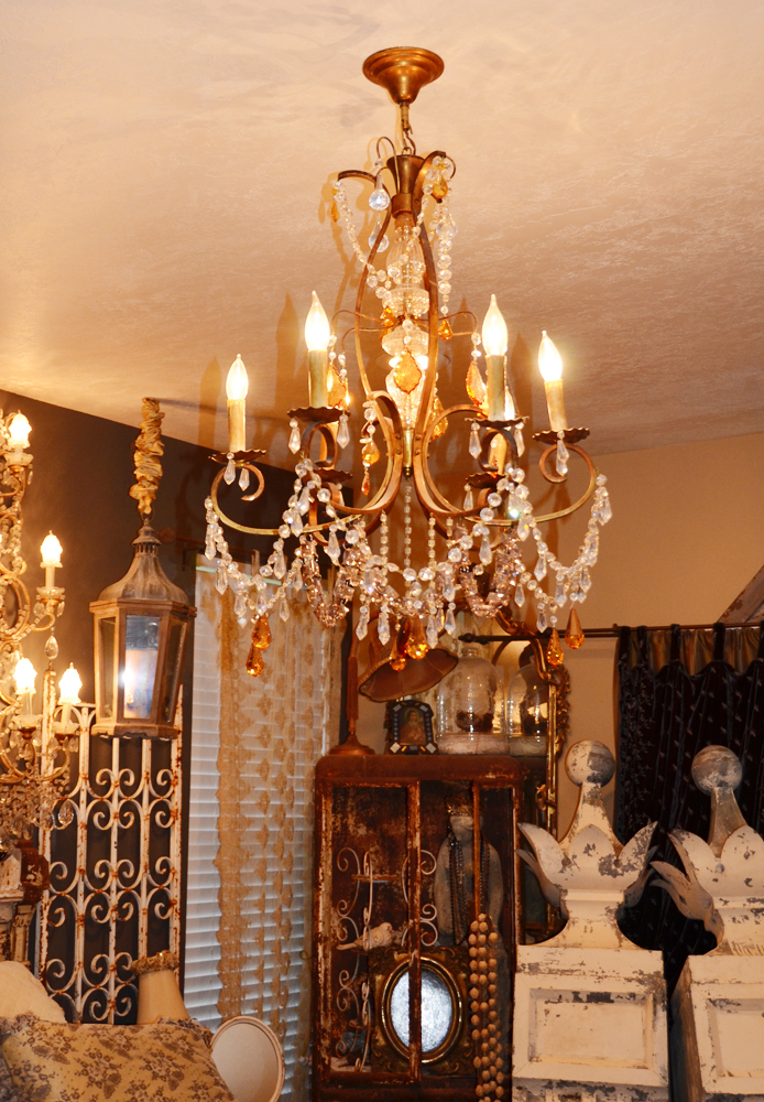 Large Antique Beaded Amber Drop Chandelier
