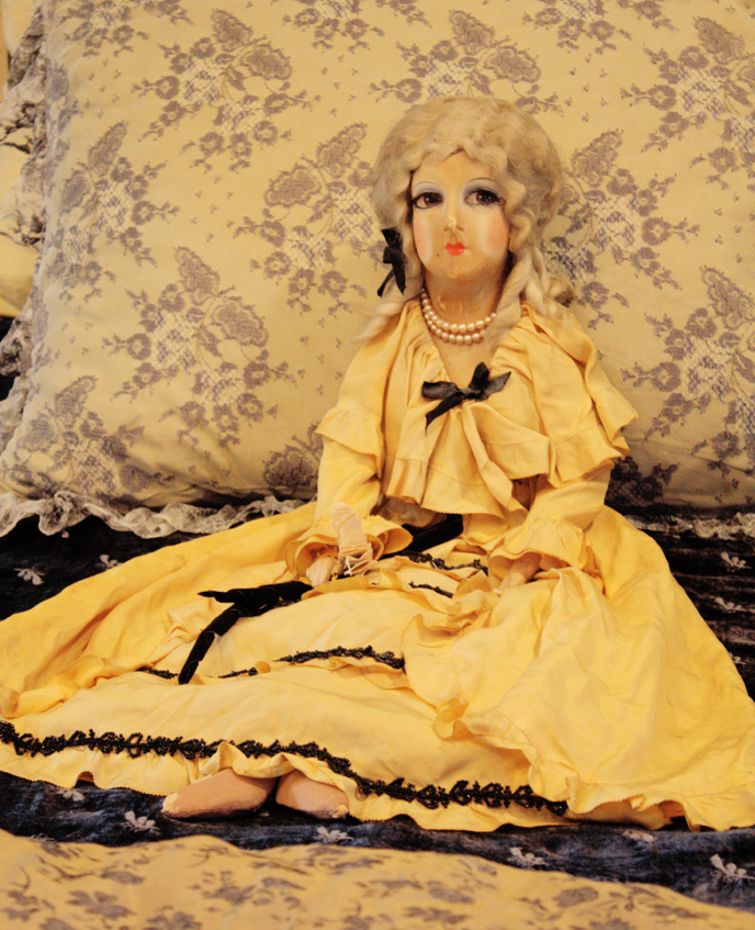 Rare 1900s Silk French Boudoir Doll Incredible Details-