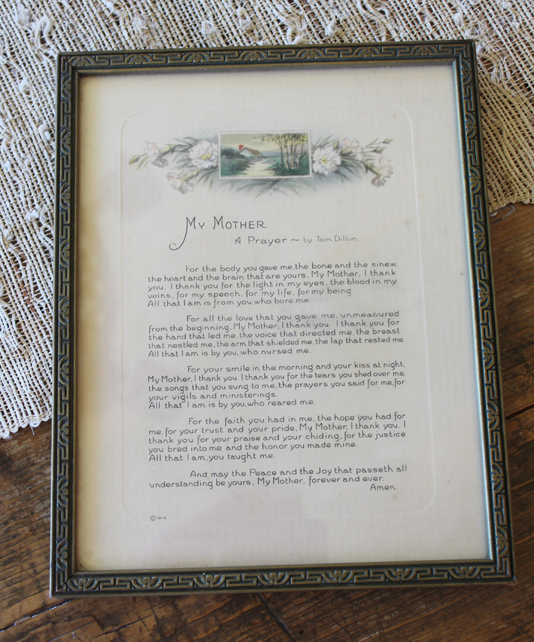 Antique Original Frame Victorian Mother Poem Print