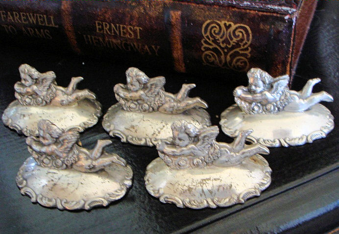 Set of 5 Antique French Cherub/Puttis Placecard Holders-