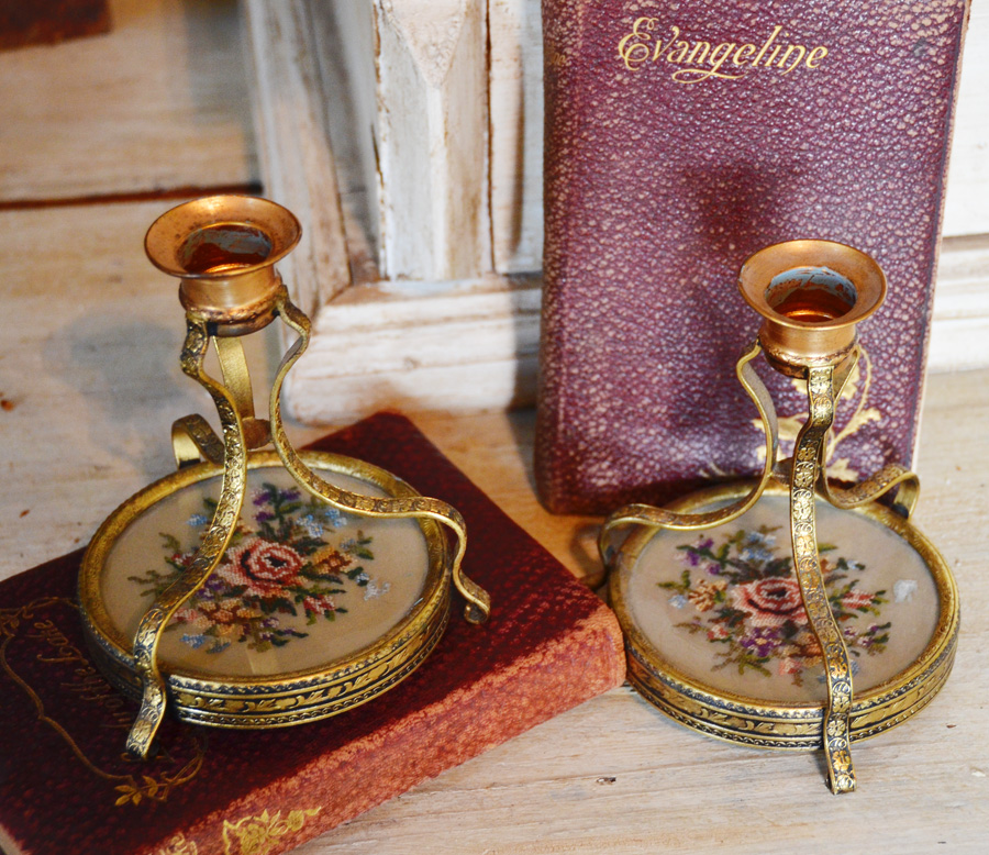 Pair Antique Victorian Petit Point Candlesticks-
