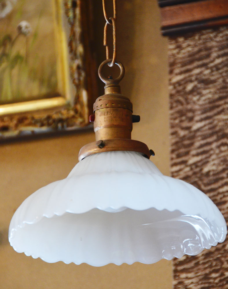 Pair of Antique French Opaline Pendant Lights-