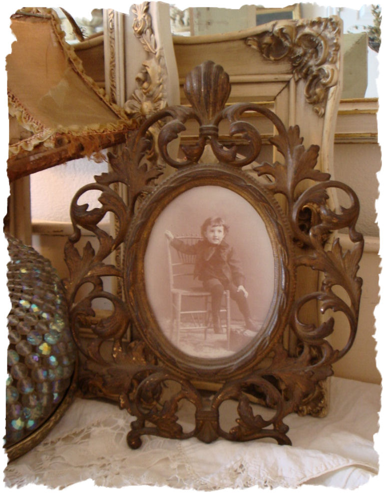 Antique Cast Iron Frame & Print Beautiful Color-