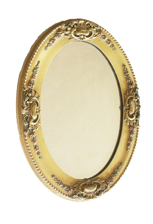 Antique Hand Painted French Barbola Oval Mirror